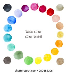 Hand-drawn watercolor color wheel. Painted vector circle stains.