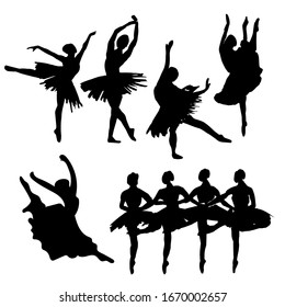 Hand-drawn watercolor illustration: set of dancing ballerinas. Vector black silhouette