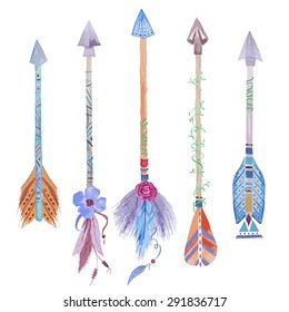 Hand-drawn watercolor seamless, arrows print