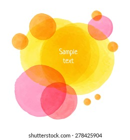 Hand-drawn watercolor vector circles. Eps10 transparent textured banner.
