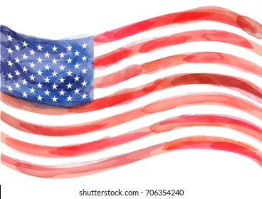 hand-drawn watercolor vector flag of America on white background. Vector illustration created with custom brushes, not auto-tracing