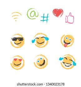 handdrawn watercolored emoji