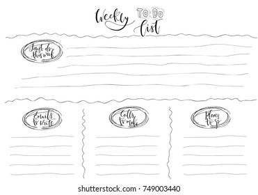 Hand-drawn weekly List Templates with handwriting lettering. Organizer and Schedule with Notes and To Do List. Vector. Isolated