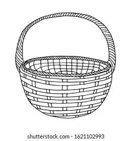 Hand-drawn wicker basket isolated on a white background.Round high basket for a picnic, for collecting mushrooms and berries, for Easter, for a holiday in nature, for animals.Vector illustration