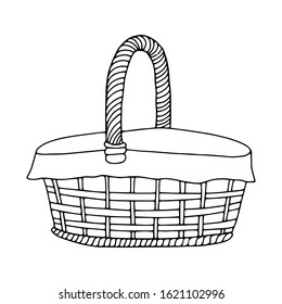 Hand-drawn wicker basket isolated on a white background.Oval high basket for a picnic, for collecting mushrooms and berries, for Easter, for a holiday in nature,for animals.Vector illustration