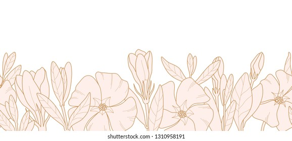 Hand-drawn wild flowers and leaves. Vector periwinkle flowers for invitation, wedding or greeting cards. Light pink botanic elements isolated on white backgroun. Seamless.