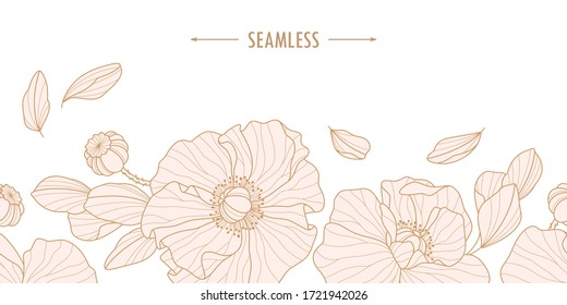 Hand-drawn wild flowers and leaves. Vector poppy flowers for invitation, wedding or greeting cards. Light pink botanic elements isolated on white backgroun. Seamless.