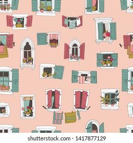 hand-drawn windows pattern - vector