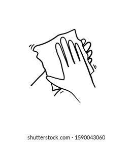 handdrawn Wipe your hand with damp cloth black icon. Wipe skin paper tissue. Wash hand. Personal hygiene. White napkin. Disinfection skin care.hand drawn doodle cartoon art style vector