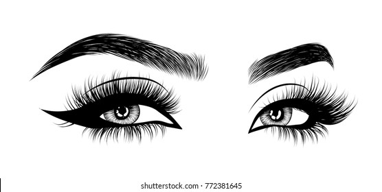 Hand-drawn woman's eyes with perfectly shaped eyebrows and full lashes with intense smoky make-up. Idea for business visit card, typography vector