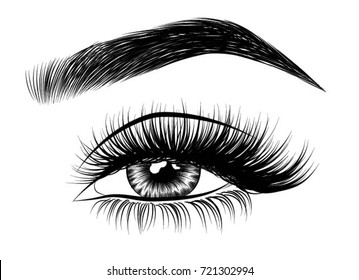Hand-drawn woman's luxurious eye with perfectly shaped eyebrows and full lashes. Idea for business visit card, typography vector.Perfect salon look.