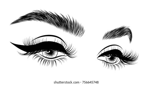 7508debe826 Hand-drawn woman's sexy luxurious eye with perfectly shaped eyebrows and  full lashes. Idea
