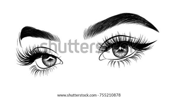 Handgezeichnetes luxuriöses Auge mit perfekt geformten Augenbrauen und vollen Wimpern. Ideal für Visitenkarte, Typografie Vektor.Perfect Salon Look.