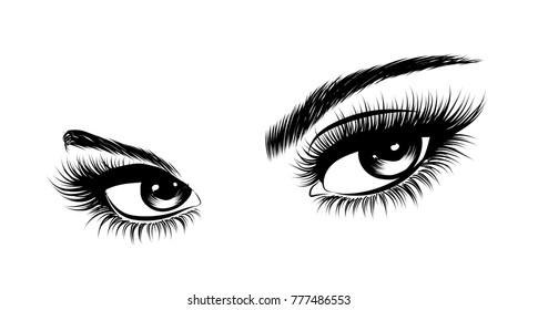Hand-drawn woman's sexy makeup look with perfectly perfectly shaped eyebrows and extra full lashes. Idea for business visit card, typography vector.Perfect salon look