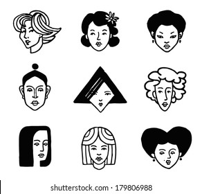 Hand-drawn women faces icon set. Logo template. Vector graphics.