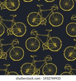 Handgezeichnet Gelbe Fahrräder Nahtlose Muster auf schwarzem Hintergrund