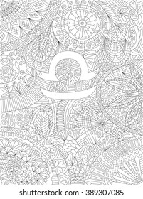 Hand Drawn Zodiac Sign Libra With Ethnic Floral And Geometric Doodle Pattern Horoscope Symbol