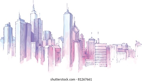 The hand-drown city skyline in a pastel shades.