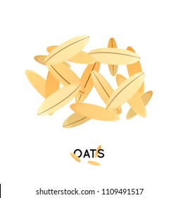 A handful of oats seed. Agro culture oats  seeds icon. Cereals oats illustration.