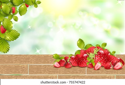 Handful of ripe strawberries with leafs on wooden table. Shiny background with sparkles and bokeh. 3d vector illustration