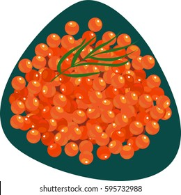 Handful of salmon roe with greens. Isolated. On dark green background.