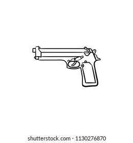 Handgun hand drawn outline doodle icon. Handgun as criminal accident and self defense arms concept. Vector sketch illustration for print, web, mobile and infographics on white background.
