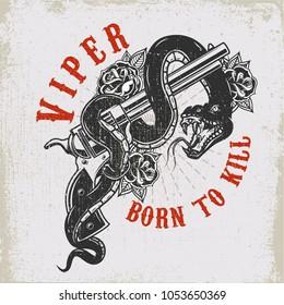 Handgun with snake. Viper. Design element for poster, t shirt, card. Vector illustration