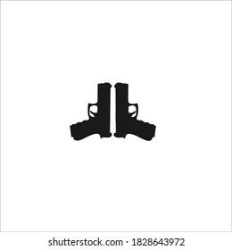Handgun Symbol Logo. Vector Illustration.