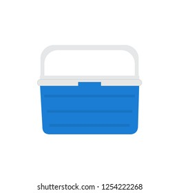 Handheld blue refrigerator, ice cooler for picnic or camping. Vector illustration, isolated over white background