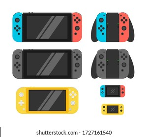 Handheld console. Collection of video game console. Vector Illustration. Flat Design.