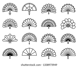 Handheld fan icons set. Outline set of handheld fan vector icons for web design isolated on white background