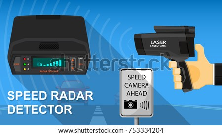 Handheld Speed Radar Lidar Laser Camera Stock Vektorgrafik