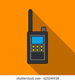 Handheld transceiver icon in flat style isolated on white background. Museum symbol stock vector illustration.