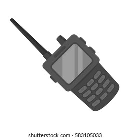 Handheld transceiver icon in monochrome style isolated on white background. Police symbol stock vector illustration.