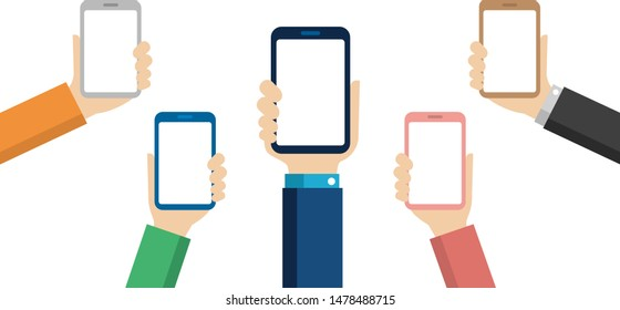 Hand-holding mobile phone flat illustration ( Design space in the smartphone screen )