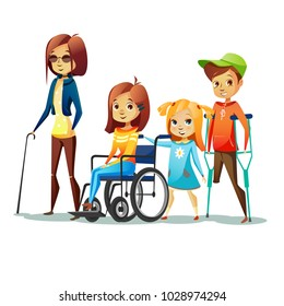 Handicapped children with disabilities vector illustration. Disabled girl in wheelchair and blind woman in black glasses and kid boy without leg on crutch for people disability concept design