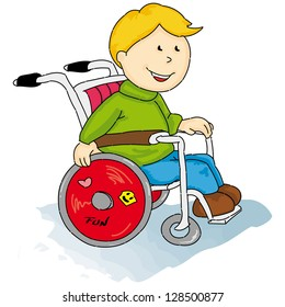 Handicapped little boy. A handicapped boy in a Wheelchair.