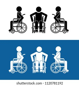 Handicapped man or disabled people on wheelchair front and side view icon flat style vector sign and symbols design.