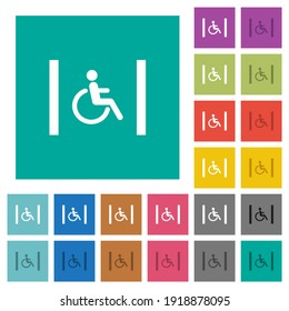 Handicapped parking multi colored flat icons on plain square backgrounds. Included white and darker icon variations for hover or active effects.