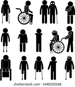 Handicapped People in Society. Reabilitation Process Concept. Stick Figure Pictogram Icon