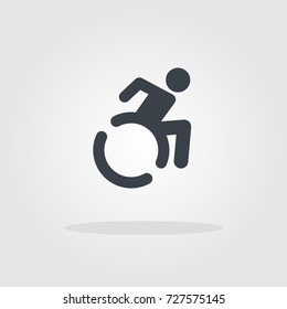 Handicapped sign, wheelchair icon moving