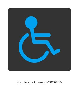 Handicapped vector icon. Style is flat rounded square button, blue and gray colors, white background.
