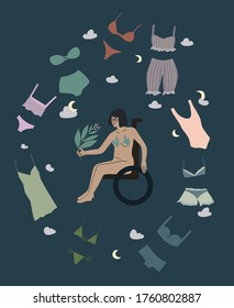Handicapped woman body positive vector illustartion. Girl on a wheelchair with set of underclothes. Disabled lady choosing lingerie. Naked invalid female accepts her body. Feminism concept art.