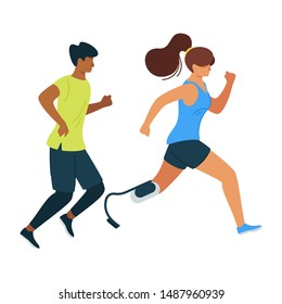 Handicapped woman outrunning male athlete flat vector illustration. Feminism movement, female empowerment. Injured, crippled athlete, jogger cartoon character design. Couple running together