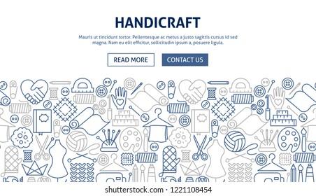 Handicraft Banner Design. Vector Illustration of Line Web Concept.