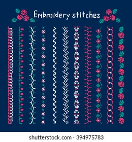 Handicraft, embroidery designs,   stitch,  stitching,  flower  brush, embroidery pattern. Set of vector elements of folk embroidery, stitching, border.