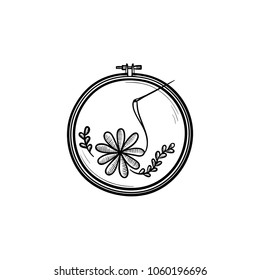 Handicraft hand drawn outline doodle icon. Thread and needle for embroidery vector sketch illustration for print, web, mobile and infographics isolated on white background.