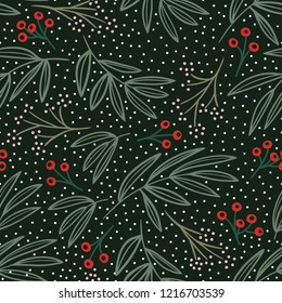 Hand-illustrated seamless vector retro Christmas holiday floral pattern. Hand-drawn botanical Xmas winter background with red berries, green leaves and snow.