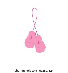 handing pink boxing gloves. Vector illustration isolated on white background