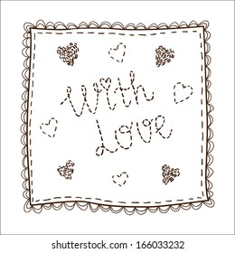 Handkerchief with embrodery. Sketch vector element for romantic design